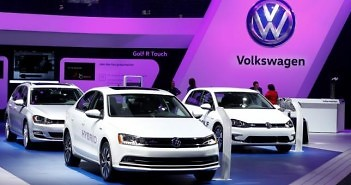 A Volkswagen Golf Hybrid is displayed at the North American International Auto Show in Detroit