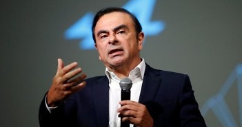 """Carlos Ghosn, Chairman and CEO of the Renault-Nissan Alliance, gestures as he speaks during the presentation of the Renault's new Alpine sports concept car """"Vision"""" in Monaco"""